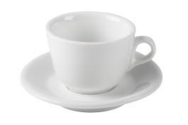 Cappuccinotassen weiss - 6er Set mit Unterteller
