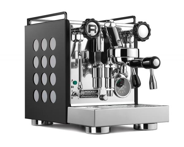 Rocket Appartamento Nera Aluminium gebürstet Espressomaschine