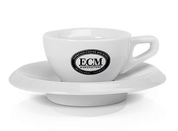 ECM Espressotassen Walküre mit Logo - 2er Set mit Unterteller